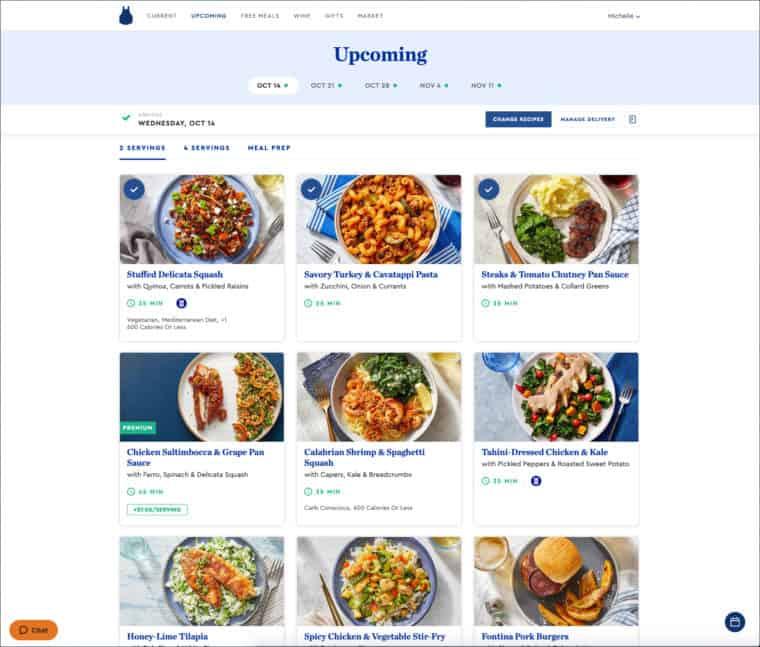 Blue Apron menu
